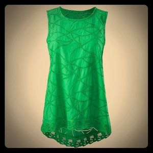 Cabi Eyelet Lace Kelly Green Gemma Tank Top 5036